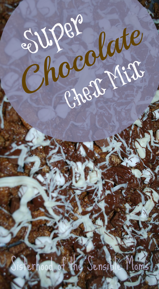 Yummy, crunchy, sweet goodness -- Super Chocloate Chex Mix Recipe -- Sisterhood of the Sensible Moms