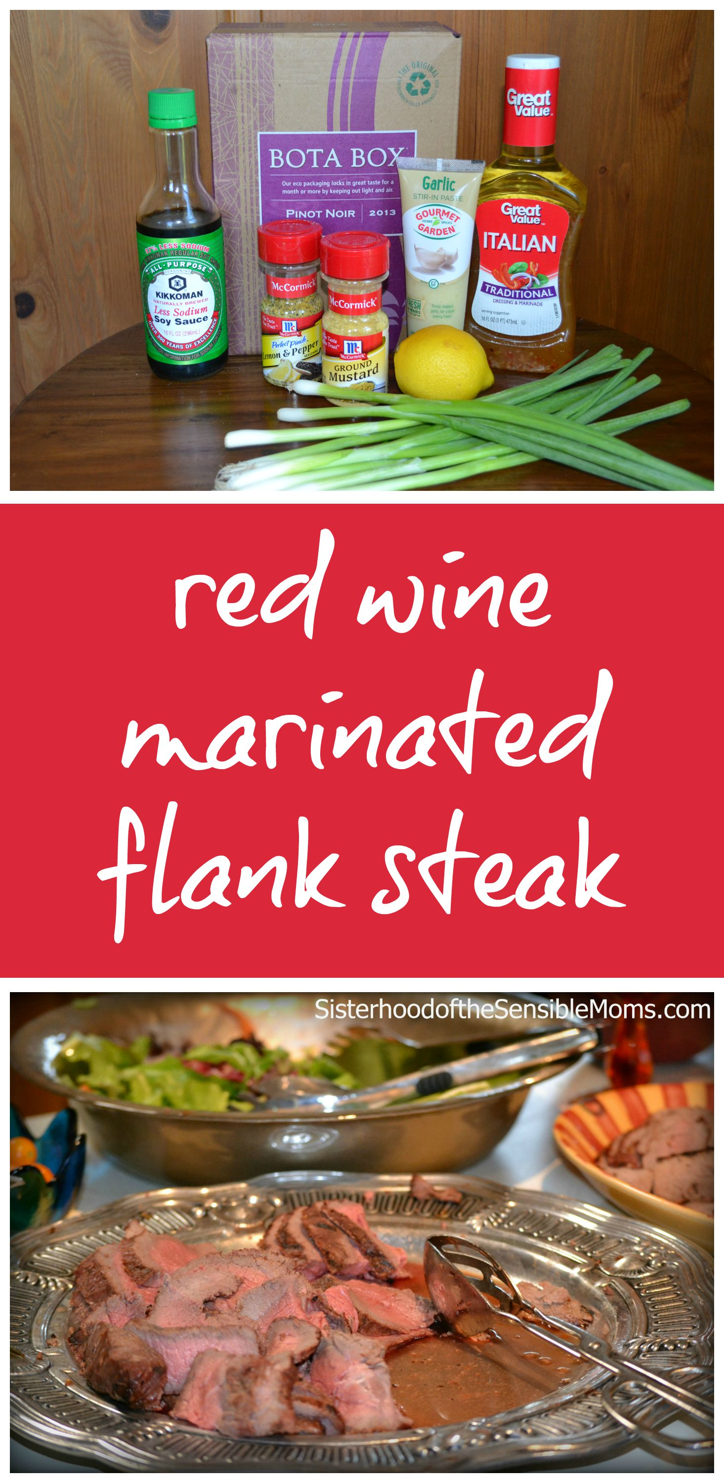 Red Wine Marinated Flank Steak | Whether you call it London broil or flank steak, it can be a delicious cut of meat especially with this marinade to bring out its full flavor and tenderness. An economical and calorie-friendly way to enjoy steak.