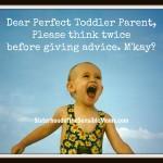 Dear Perfect Toddler Parent