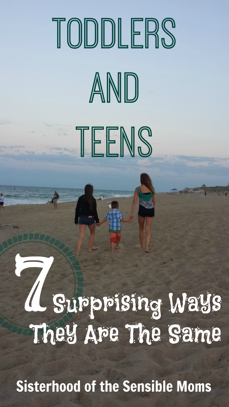 "Toddlers and Teens: 7 Surprising Ways They Are The Same. They both begin with ""T"" but that is NOT where the similarities end. - Sisterhood of the Sensible Moms"