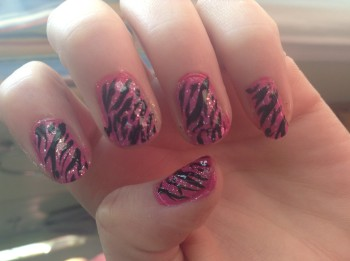 Free hand zebra stripes--the Sistine Chapel of nails . . . except they take longer.