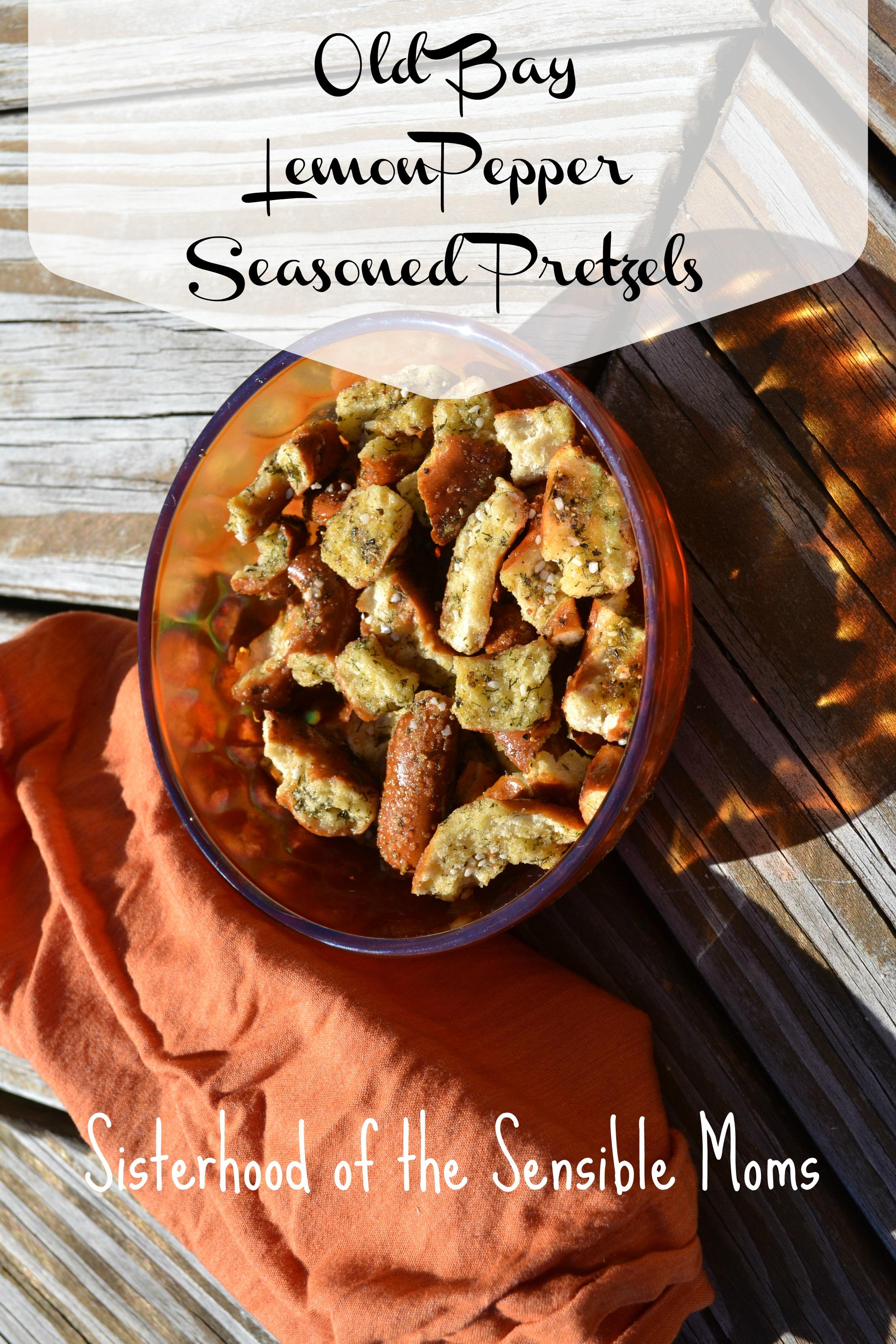 An easy, yummy make and take appetizer! Old Bay Lemon Pepper Seasoned Ptetzels Recipe -- Sisterhood of the Sensible Moms
