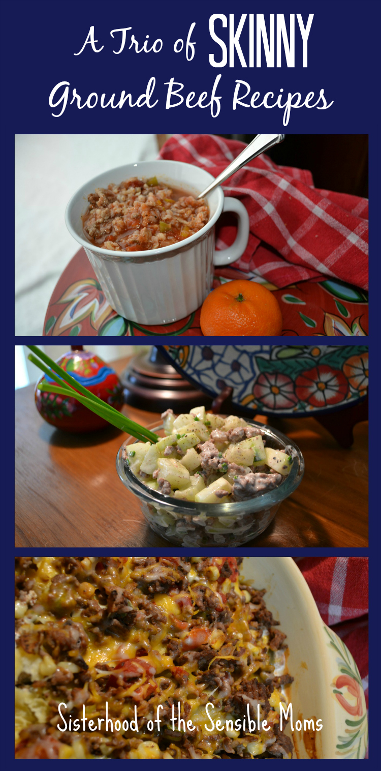 A Trio of Skinny Ground Beef Recipes: Skinny Stuffed Pepper Soup, Skinny Ground Beef with Greek Yogurt Sauce, and Skinny Mexican Casserole. Enjoy the yum without the calories. - Sisterhood of the Sensible Moms