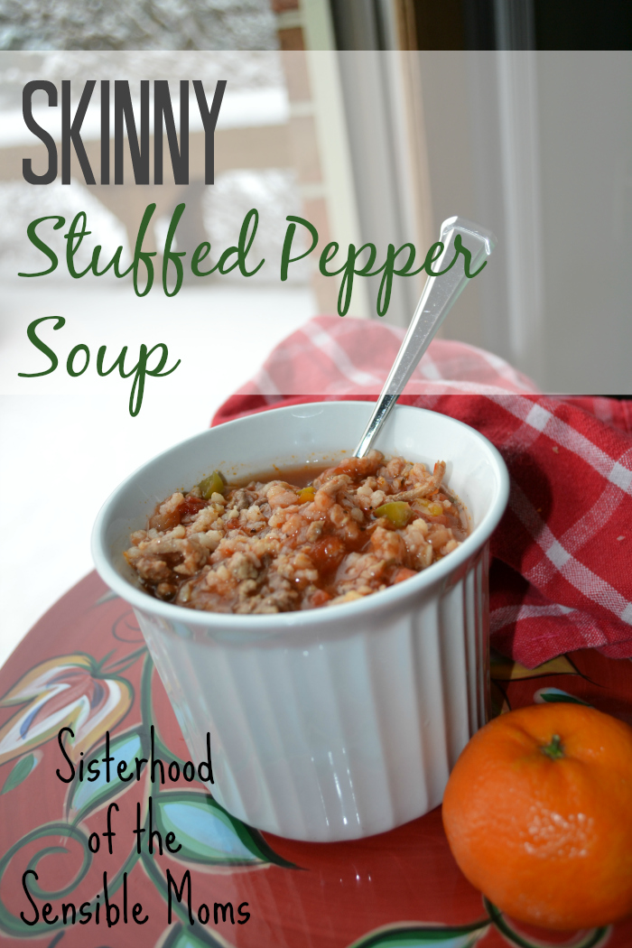 Skinny Stuffed Pepper Soup Recipe - The Sisterhood of the Sensible Moms - This soup is a yummy way to keep on track for your fitness goals.