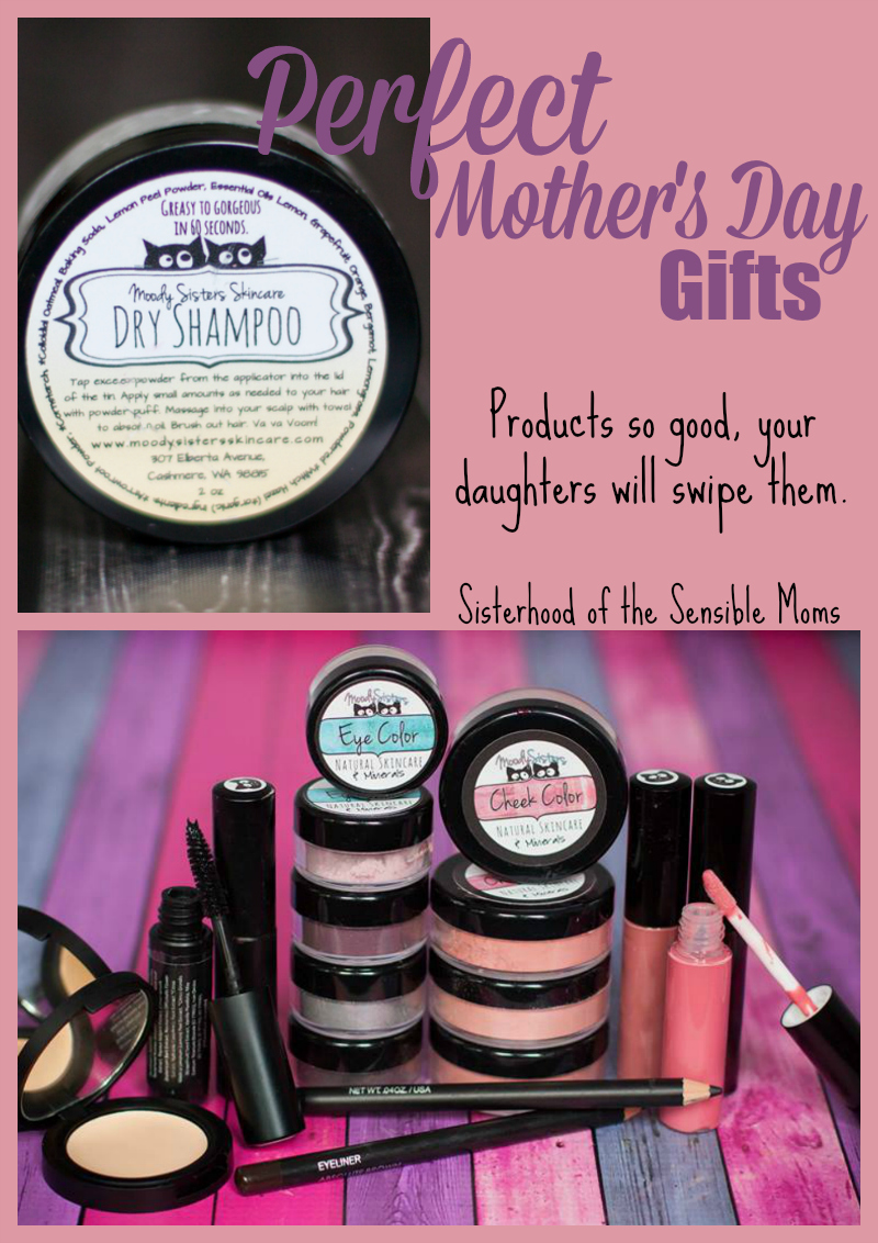 Perfect Mother's Day Gifts from Moody Sisters plus a giveaway! Make-up and beauty products so good, your daughters will swipe them. |All natural| Sisterhood of the Sensible Moms