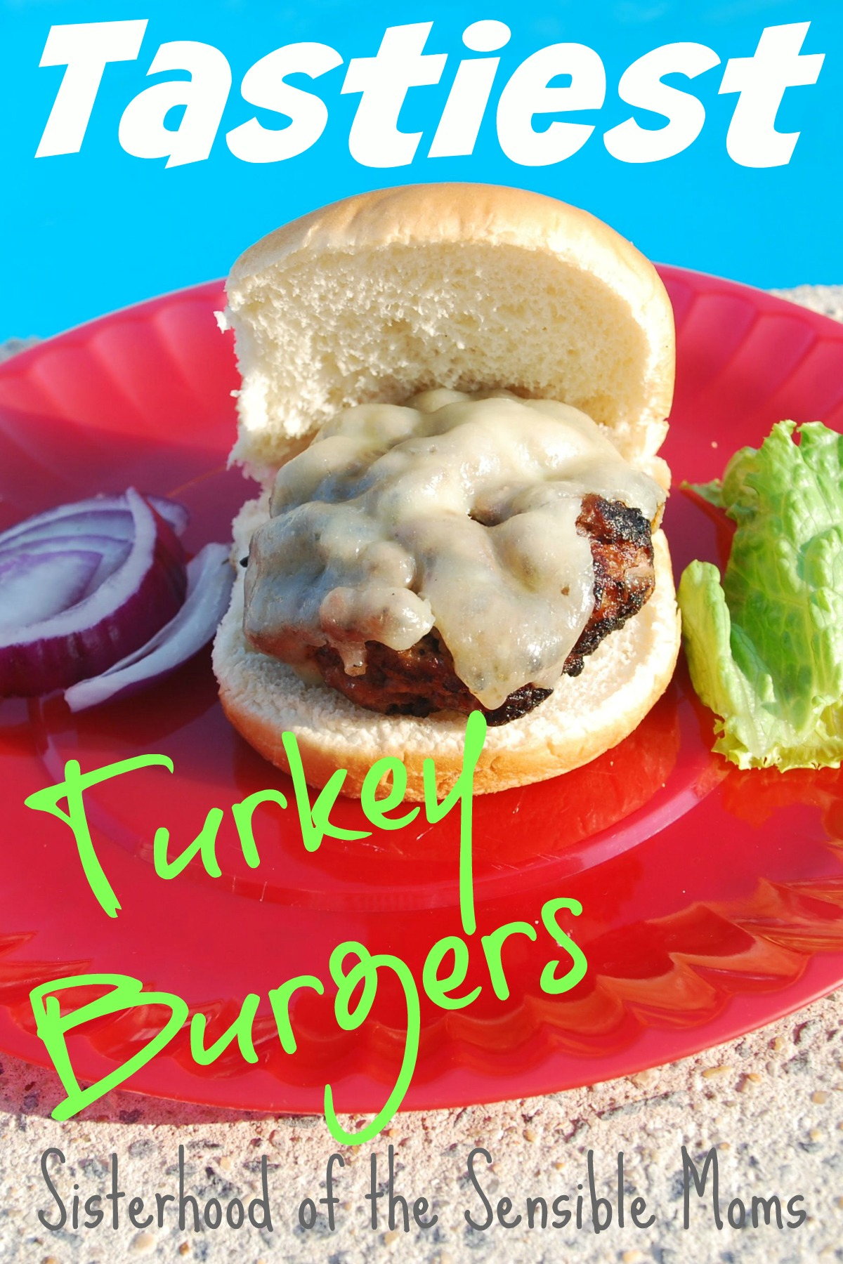 Need some summer meal ideas? Check out these tasty turkey burgers! Delicious AND healthy recipe! Great for a party! Sisterhood of the Sensible Moms