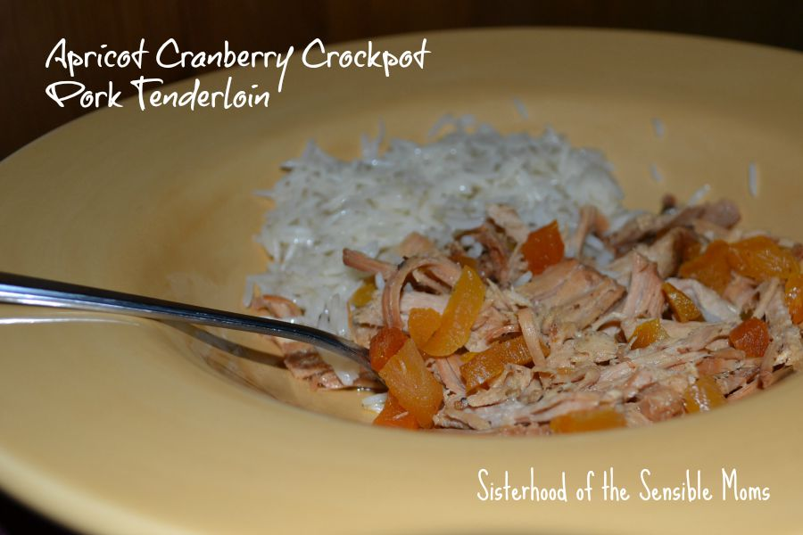 Apricot Cranberry Crockpot Pork Tenderloin recipe. Part of our Life Hacks for Managing Your Busy Family |Sisterhood of the Sensible Moms