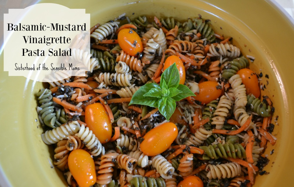Looking for a side dish with a remarkable depth of flavor? Balsamic-Mustard Vinaigrette Pasta Salad is it! The mustard and olives provide the unique tang that gets this recipe rave reviews. This is a pasta salad that can be served all year round. | Sisterhood of the Sensible Moms