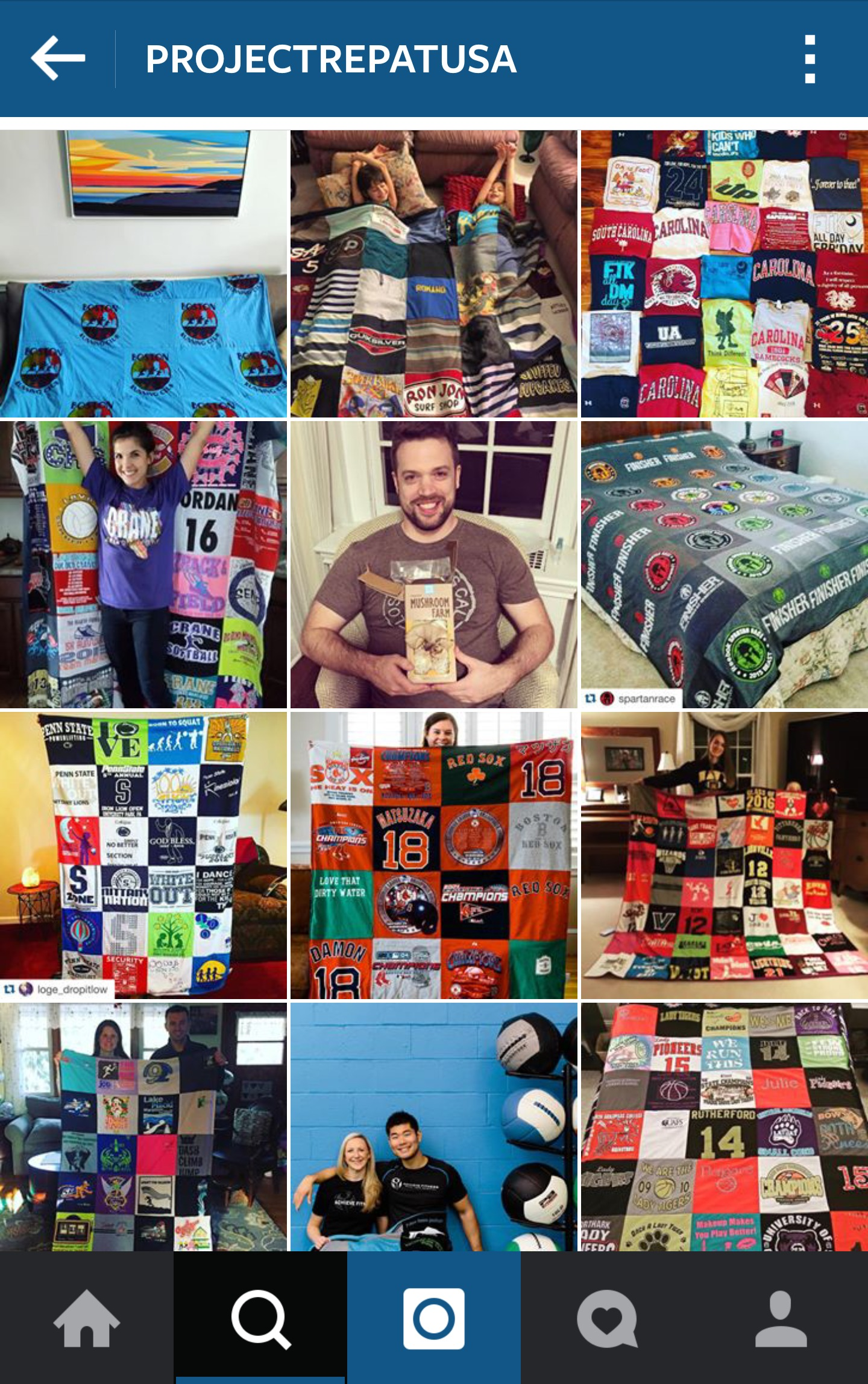 Follow Project Repat on Instagram! Looking for great Graduation and Father's Day Gifts? How about your memories wrapped up with a side of memorable and cuddly?| Project Repat T-Shirt Quilts for Grads and Dads | Sisterhood of the Sensible Moms