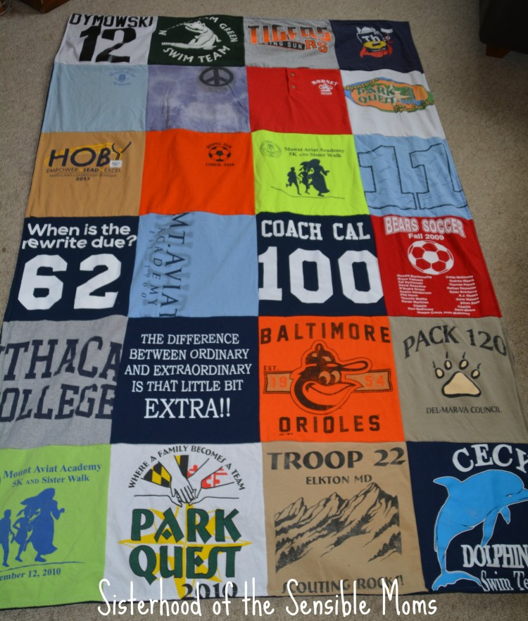 Looking for great Graduation and Father's Day Gifts? How about your memories wrapped up with a side of memorable and cuddly?| Project Repat T-Shirt Quilts for Grads and Dads | Sisterhood of the Sensible Moms